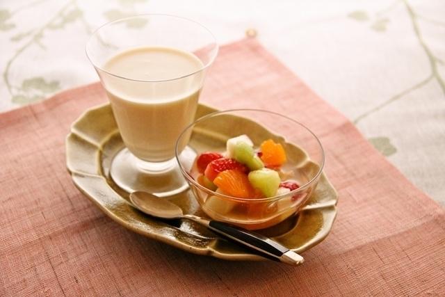 豆乳のパンナコッタ&マチェドニア(フルーツポンチ)