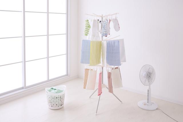扇風機と洗濯物