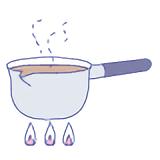 鍋で煮出す