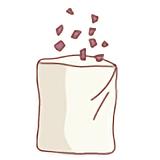 タオルや綿の袋に細かくした葉を入れる